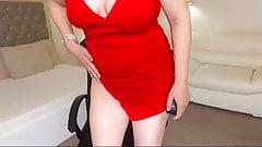 mature blonde in red