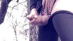 crossdresser in leggings outdoors