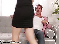 Busty British Cougar Sucks off Stepson