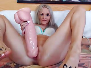 Fuck her pussy by huge dildo