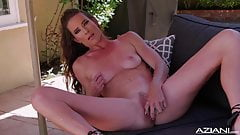 Sexy Milf Sophie Marie dildos outdoors