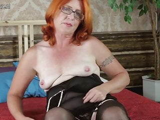 Real Grandmother Playing with her Hairy Pussy