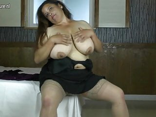 Busty spanish mother takes young cock