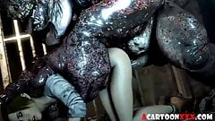Tight pussy 3D babe fucked hard by big large dick