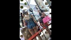 Girls with ridiculously short shorts (asses out)