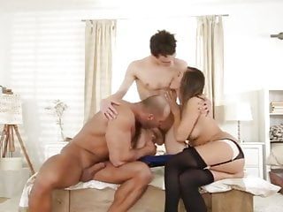 2 hot guys and 1 sexy girl having fun bi mmf