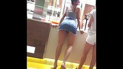 Candid voyeur latina teen teasing bending in skirt