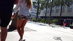 Candid voyeur blonde in see thru skirt hot legs ass