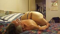 Licking granny's big Pussy's Thumb