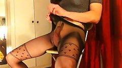 Crossdresser marie tease and cum in sheer hose