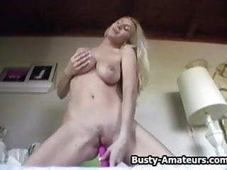 Busty Autumn with her cute pink dildo