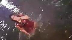 sexy girl take bath in river.mp4