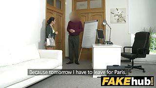 Fake Agent Cream pie for petite black haired Italian