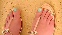 Candid Blue Toed Newlywed Feet on Cruise Ship