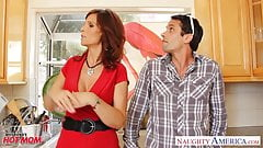 Stockinged mom Syren De Mer fucking in kitchen