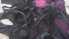 Many cum jets on black bras ( + slow motion )