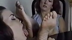 Girl worships old woman's wrinkled feet