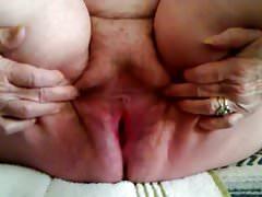Grandma Spreading Hot Old Pussy clip