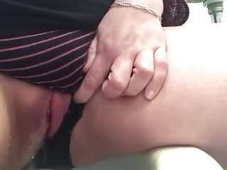 Peeing and masturbating in my striped panties on toilet 1