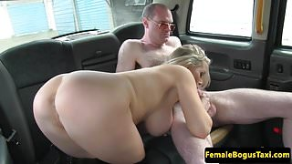 Busty british cabbie dominates passenger