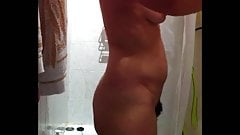 Spy sexy naked wife on hidden cam finishing her shower