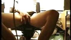girl caught masturbating at computer