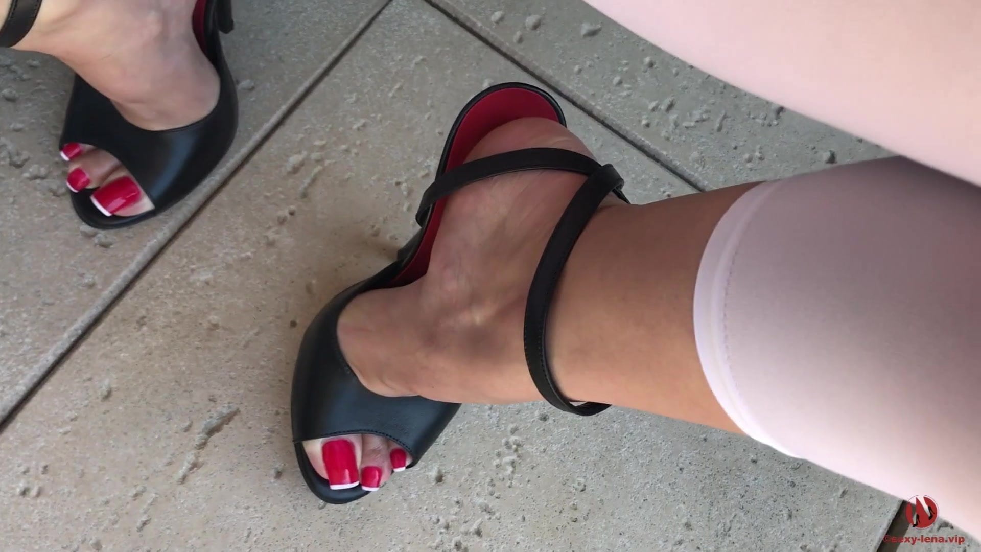 Pissing on Sexy Feet in High Heels Sandals