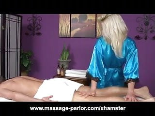 Skinny Blonde Teen Massage Girl Blowjob and Cumshot