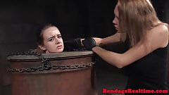 Submissive babe punished by dominators
