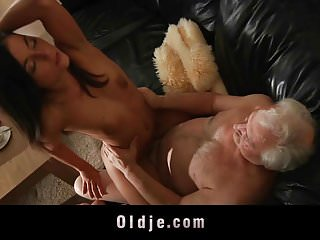 Fat grandpa big cock hard sucked by horny hot babe