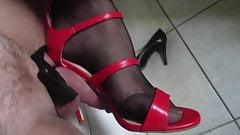 teasing red high heel sandal
