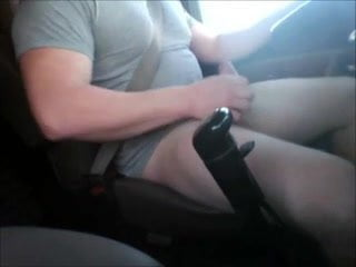 Large dick chubby trucker jacking n driving and eats the load