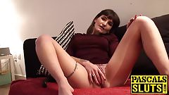 Brunette stuffing a toy in her wet pussy