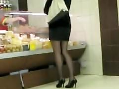 Upskirt Black Seamed Stocking and White Thong Wearing High H