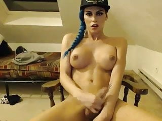 Sexy Blue Haired Shemale Fapping On Webcam