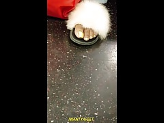 Candid ebony yellow toes fuzzy slippers long ver