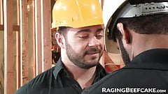 Muscular construction workers bareback and suck cock on the