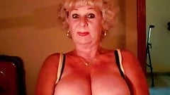 Old granny showing saggy tits