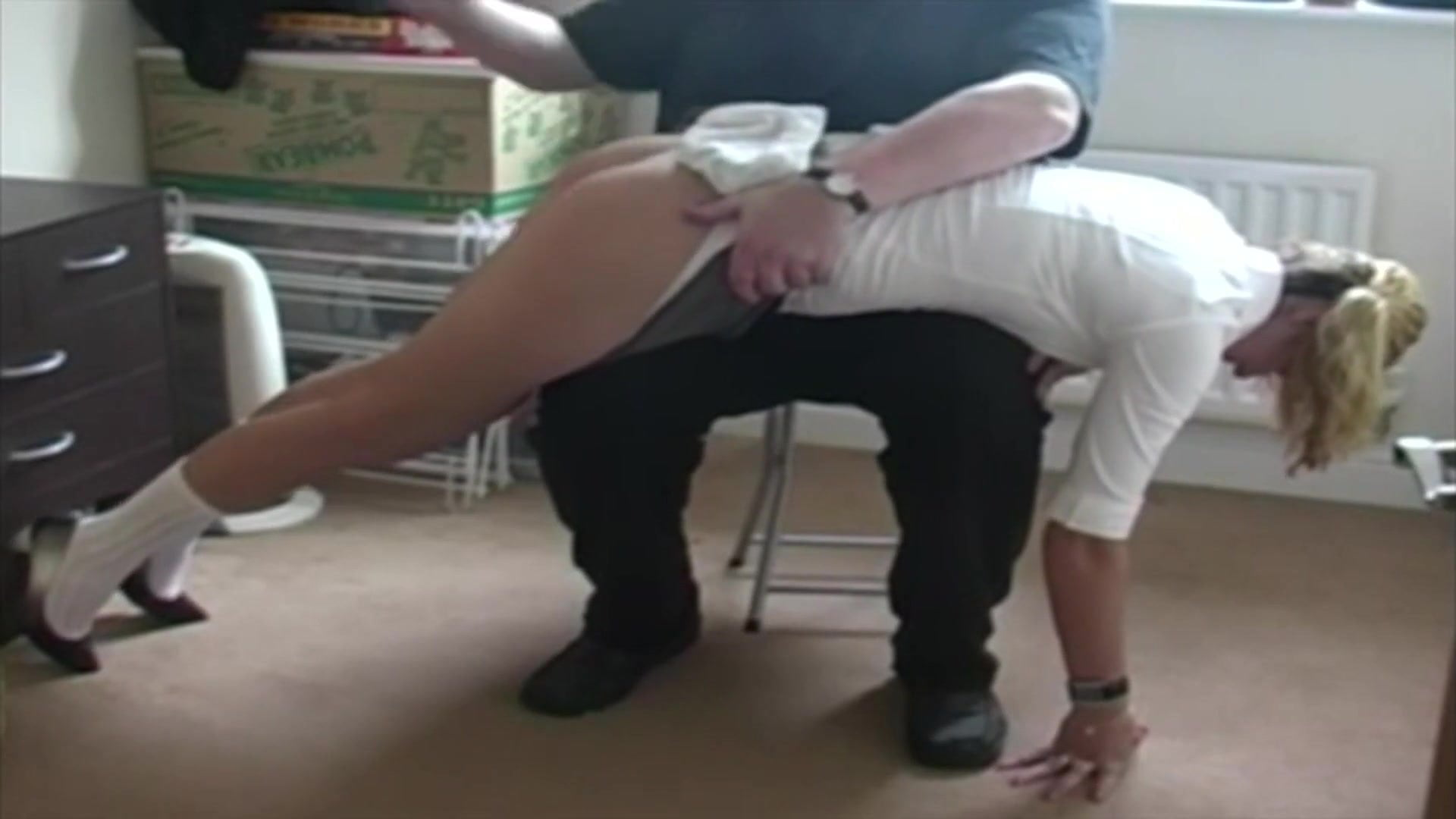 Fairly English Lady in College Uniform Spanking