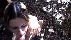 Dagny fuck and facial in the woods