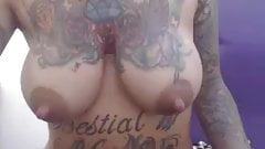 Lactating busty mom with tattoos