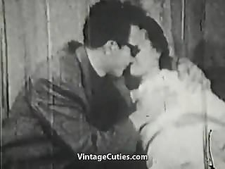Mustached Boy Fucks Young Cutie's Pussy (1950s Vintage)