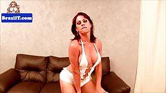 Teasing brazilian tgirl tugging her dick
