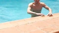 Hot guy in the swimming pool