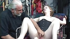 Trish gets restrained to bed and gets vibrator deep in pussy by dom