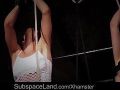 Hogtied teen slaves submissive to bondage deep penetration