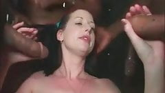Interracial gangbang - Deep throat