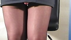 Pantyhose cum on chair