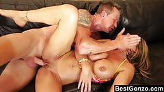 Blonde MILF Creampied On The Couch