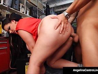 Cuban BBW Angelina Castro Blows & Bangs A Mechanic's Cock!
